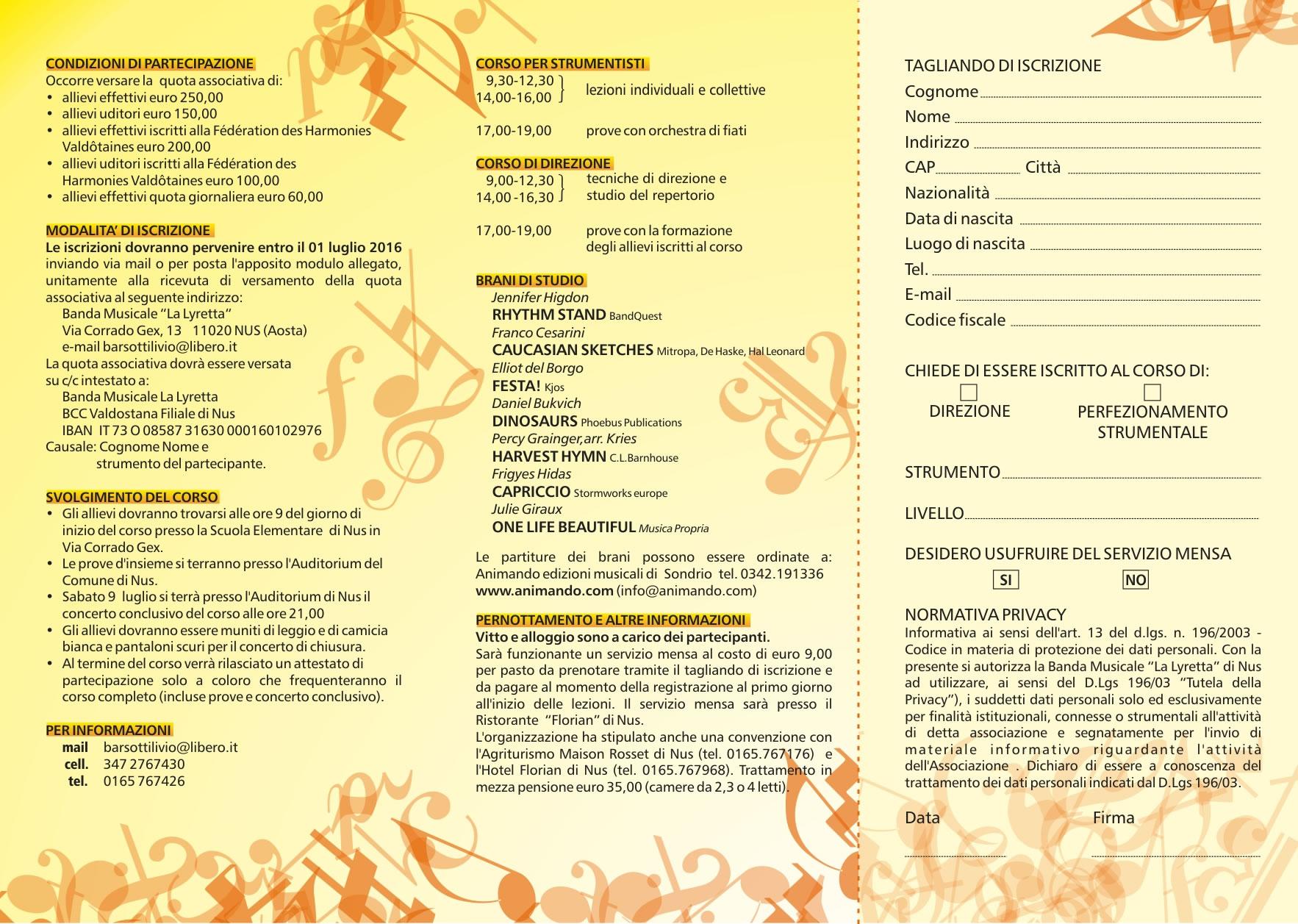Corso di direzione per direttori di banda corso di for Agriturismo maison rosset